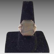 Vintage  Men's Sterling Agate Ring