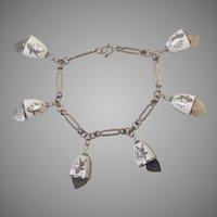 Vintage Siam Silver & White Enamel Bell Bracelet