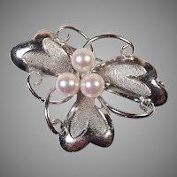 Japanese Akoya Pearl Silver Floral Pin