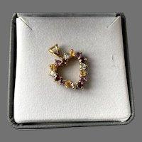 Vintage Gemstone Heart Pendant Sterling Vermeil