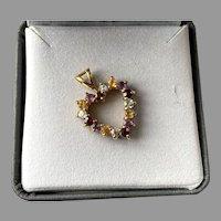 REDUCED Sterling Vermeil Genuine Gemstone Heart Pendant