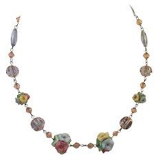 Vintage Bohemian Floral & Crystal Bead Necklace