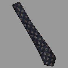 REDUCED Vintage 1960's Wool Necktie Tie Prestwick & Metcalf Shield Design
