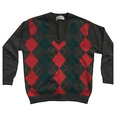 Vintage Men's Wool Argyle Sweater By Peter Scott Made In Scotland