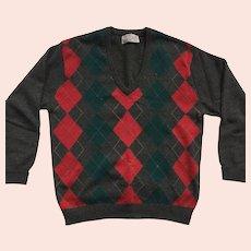 Vintage Unisex Wool Argyle Sweater By Peter Scott Made In Scotland