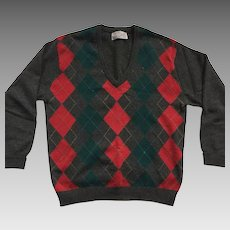 Vintage Men's Wool Argyle Sweater By Peter Scott Made In Scotland