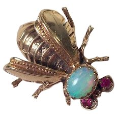14K Yellow Gold Bee Pin With Opal & Rubies