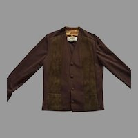REDUCED Vintage 1960's Unisex Brown Suede & Polyester Jacket Made In Canada