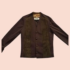 Vintage 1960's Unisex Brown Jacket Polyester & Suede Made In Canada