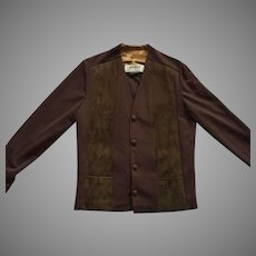 Vintage 1960's Men's Brown Jacket Polyester & Suede Made In Canada