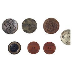 Group Of Seven Vintage Celluloid Buttons