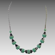 Art Deco Green & Black Opaque Czech Glass Necklace