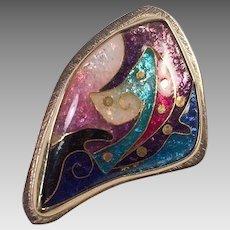 Artist Made Cloisonne Enamel Silver Gold Pendant Signed