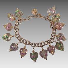 Graziano Venetian Glass Heart Charm Bracelet