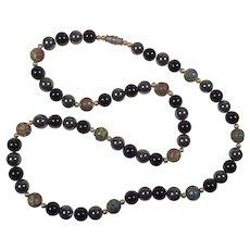 Vintage Cloisonne, Hematite, Black Onyx Beaded Necklace