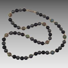 Vintage Cloisonne, Hematite, Black Onyx Beaded Necklace