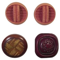 Four Vintage Plastic Coat Buttons