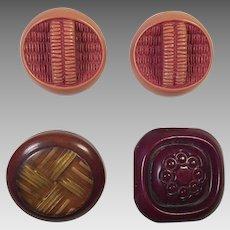Four Vintage Plastic Coat Buttons