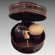 Vintage Travel Perfume Atomizer In Small Faux Alligator Case