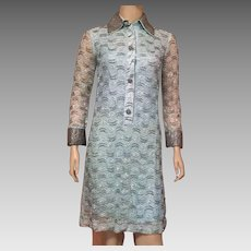 Vintage 1960's Beaded Light Blue Evening Dress