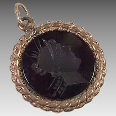 Vintage Dark Amber Glass Intaglio Pendant