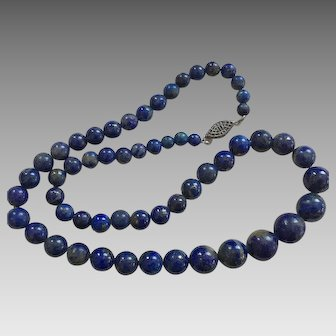 Single Strand Graduated Lapis Bead Necklace