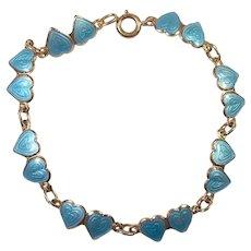 OPRO Sterling Norway Blue Guilloche Enamel Heart Bracelet