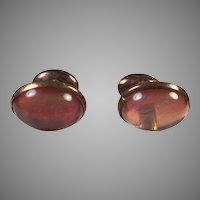 Edwardian Dragon's Breath Jelly Opal Glass Dumb-Bell Cufflinks
