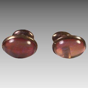 Edwardian Dragon's Breath Jelly Opal Glass Dumb-Bell Cufflinks