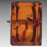 Large Rectangle Amber Sterling Ring