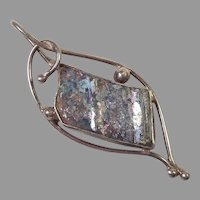 REDUCED Modernist Silver & Crushed Roman Glass Pendant
