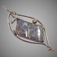 Modernist Silver & Crushed Roman Glass Pendant