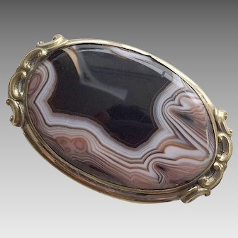 Large Victorian Gold Filled Agate Pin / Pendant