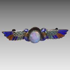 Art Deco Egyptian Revival 800 Silver Enamel & Opal Pin
