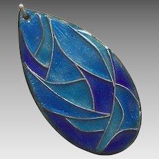 1960's Modernist Enamel On Copper Pendant Shades Of Blue