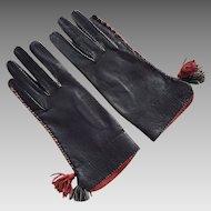 Vintage Black & Red Leather Gloves With Tassels
