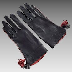 Vintage Black & Red Leather Gloves With Tassels