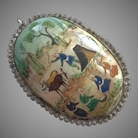 Vintage Persian Hand Painted Mother Of Pearl Pendant