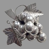 REDUCED Vintage Signed Mexican Sterling Grapes Pin / Pendant