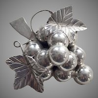 Vintage Signed Mexican Sterling Grapes Pin / Pendant
