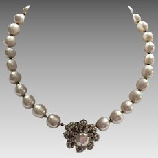 Early Miriam Haskell Glass Baroque & Seed Pearl Necklace