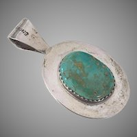 Lee Thompson Navajo Sterling Turquoise Coral Reversible Pendant
