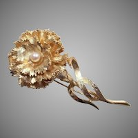 Vintage Boucher Carnation Flower Pin With Faux Pearl