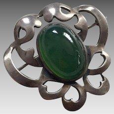 Art Nouveau Sterling Chrysoprase Pin