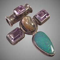 Silver Pendant With Gemstones Opal Amethyst Quartz
