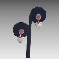 Navajo Elle Curley Jackson Sterling & Coral Heart Earrings