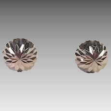 14K White Gold Etched Button Earrings