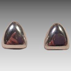 Modernist Style Sterling Silver Pierced Earrings