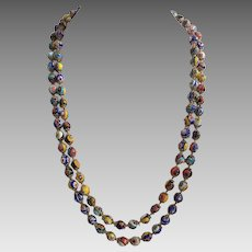 Vintage Extra Long Italian Millefiori Glass Beaded Necklace