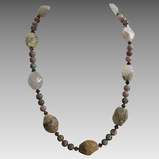 Vintage Artist Made Agate Necklace
